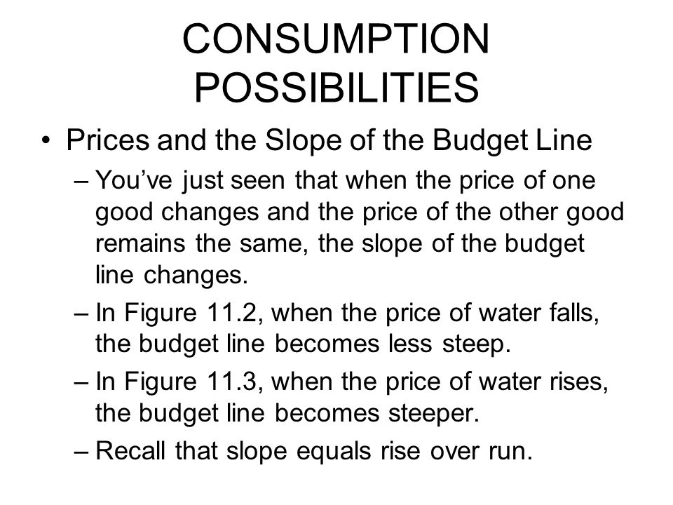 CONSUMPTION POSSIBILITIES Prices and the Slope of the Budget Line –You've just seen that when the price of one good changes and the price of the other good remains the same, the slope of the budget line changes.