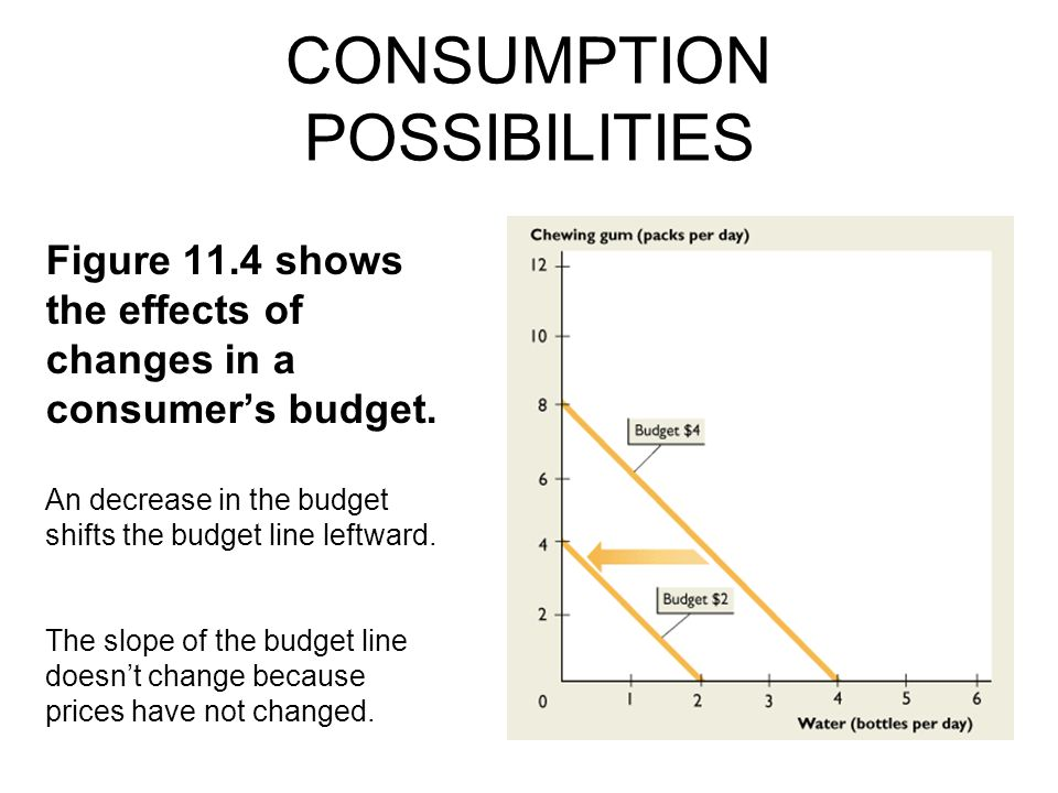 CONSUMPTION POSSIBILITIES An decrease in the budget shifts the budget line leftward.