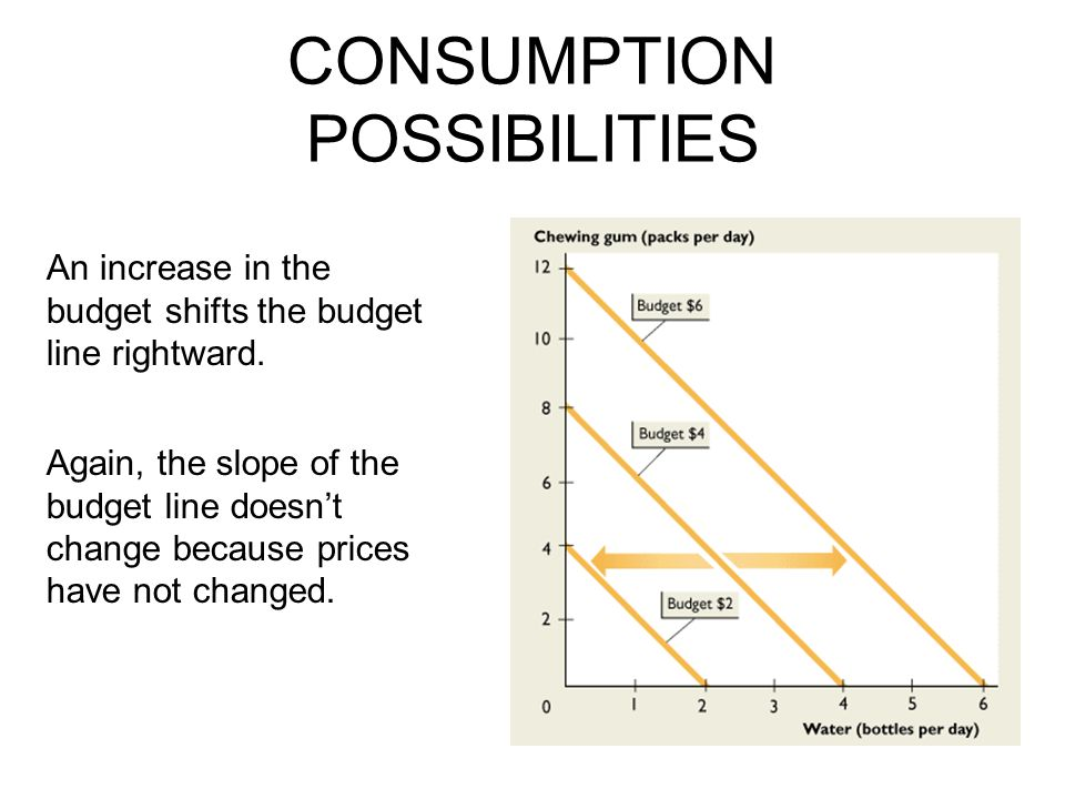 CONSUMPTION POSSIBILITIES An increase in the budget shifts the budget line rightward.