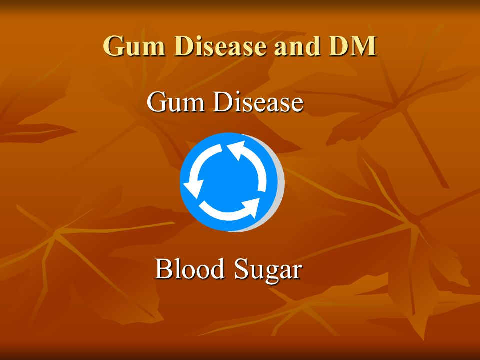 Gum Disease Gum Disease Blood Sugar Blood Sugar Gum Disease and DM
