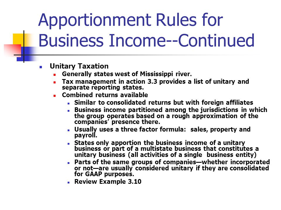 Importance of state and local tax planning various types of taxes apportionment rules for business income continued unitary taxation generally states west of mississippi river sciox Choice Image