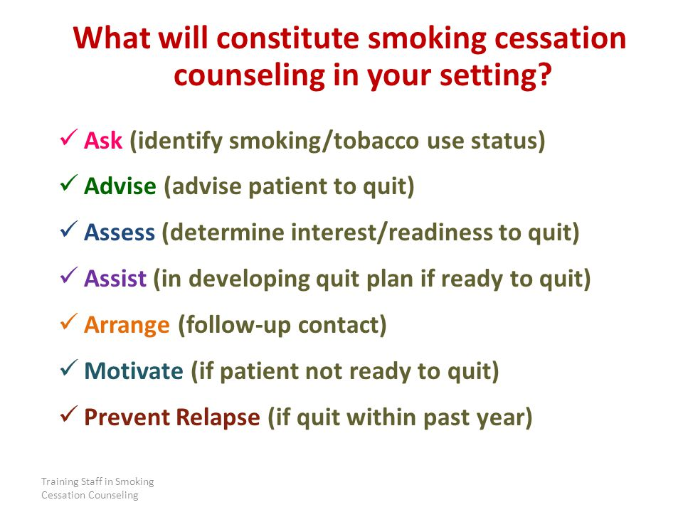 Training Staff in Smoking Cessation Counseling What will constitute smoking cessation counseling in your setting.