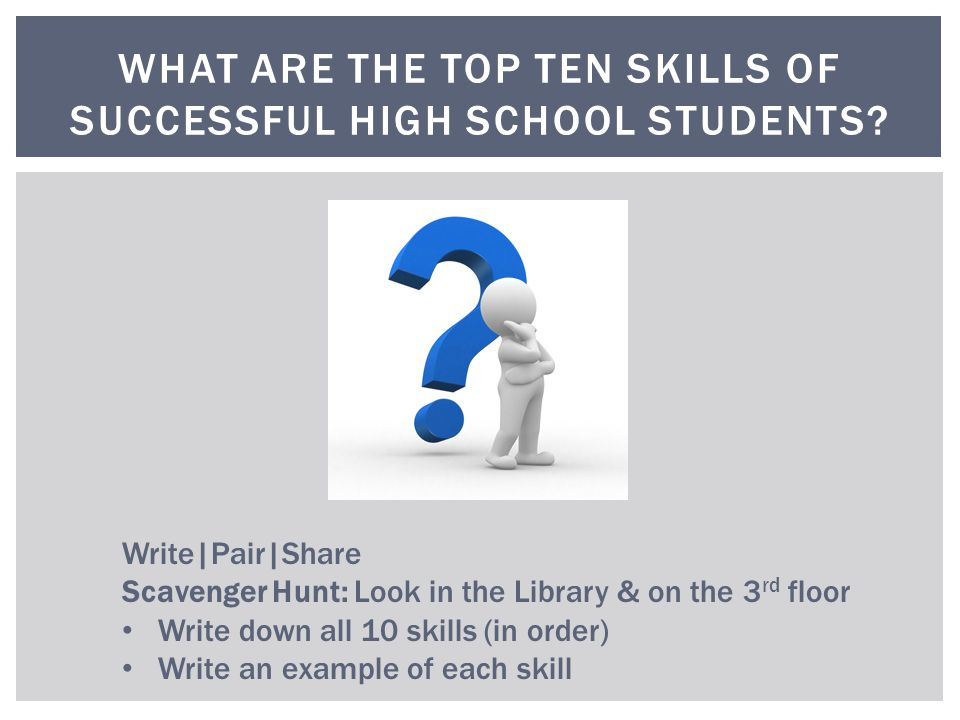 WHAT ARE THE TOP TEN SKILLS OF SUCCESSFUL HIGH SCHOOL STUDENTS.