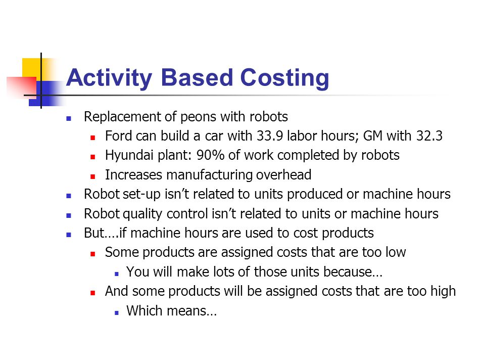 the implementation of activity based costing