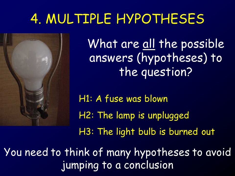 4. MULTIPLE HYPOTHESES What are all the possible answers (hypotheses) to the question.
