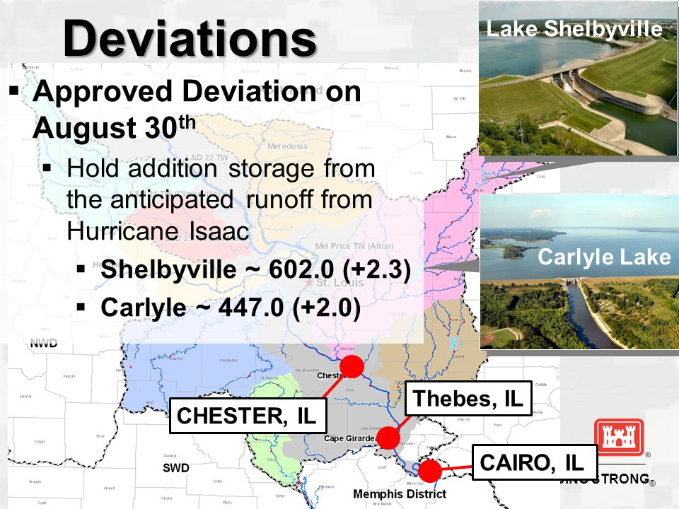 BUILDING STRONG ®Deviations Lake Shelbyville Carlyle Lake Thebes, IL CHESTER, IL CAIRO, IL  Approved Deviation on August 30 th  Hold addition storage from the anticipated runoff from Hurricane Isaac  Shelbyville ~ (+2.3)  Carlyle ~ (+2.0)