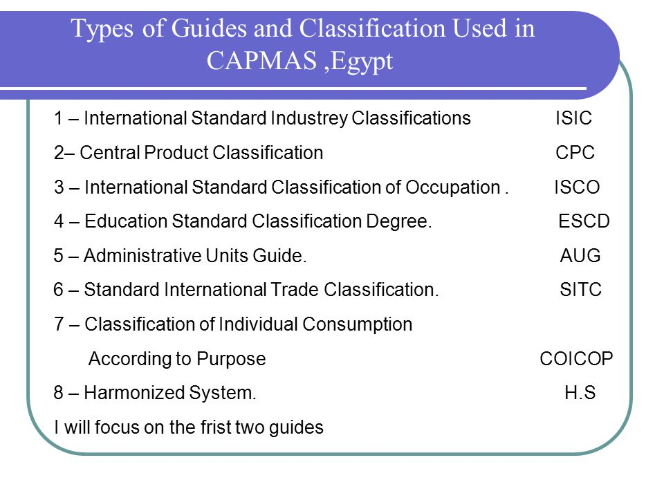 Types of Guides and Classification Used in CAPMAS,Egypt 1 – International Standard Industrey Classifications ISIC 2– Central Product Classification CPC 3 – International Standard Classification of Occupation.