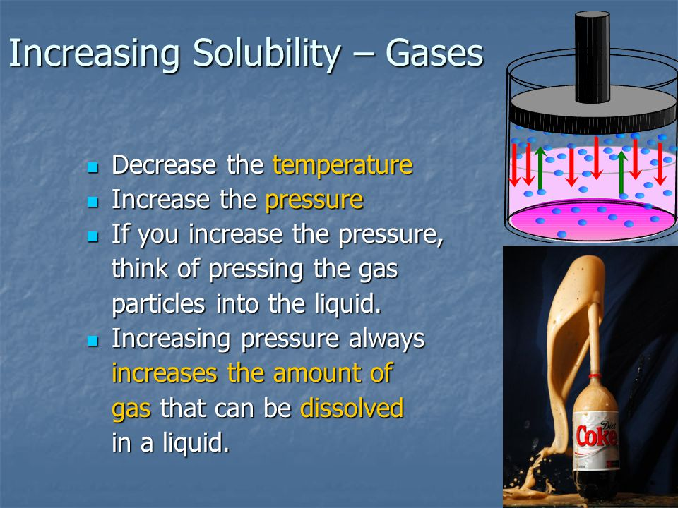Increasing Solubility – Gases Decrease the temperature Decrease the temperature Increase the pressure Increase the pressure If you increase the pressure, If you increase the pressure, think of pressing the gas particles into the liquid.