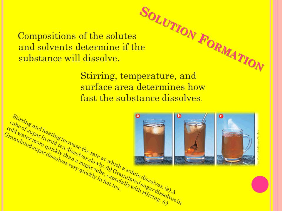 S OLUTION F ORMATION Compositions of the solutes and solvents determine if the substance will dissolve.
