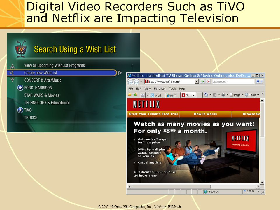 Digital Video Recorders Such as TiVO and Netflix are Impacting Television © 2007 McGraw-Hill Companies, Inc., McGraw-Hill/Irwin
