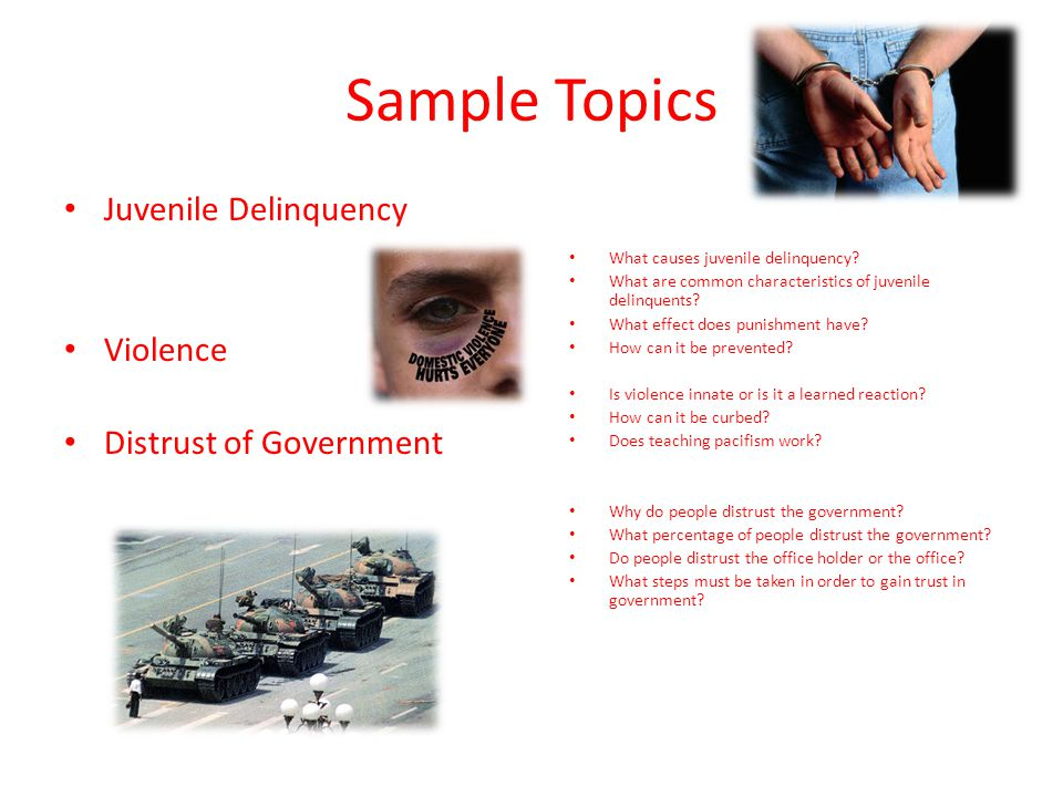 Sample Topics Juvenile Delinquency Violence Distrust of Government What causes juvenile delinquency.
