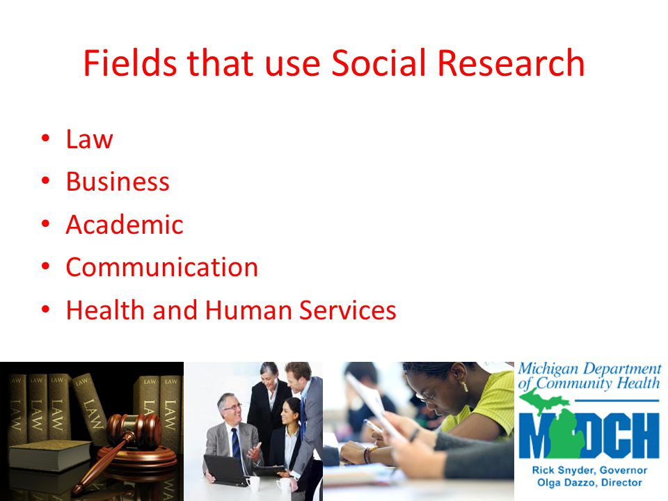 Fields that use Social Research Law Business Academic Communication Health and Human Services