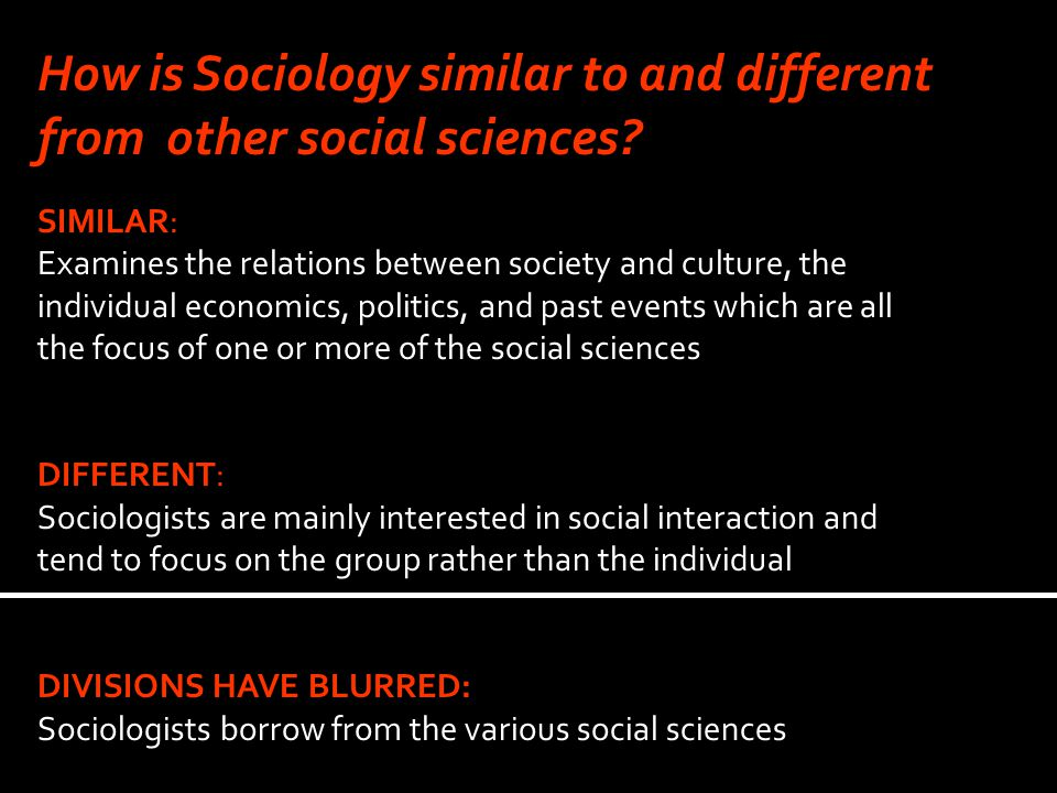 How is Sociology similar to and different from other social sciences.