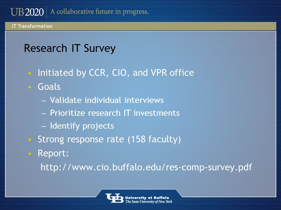 Research IT Survey Initiated by CCR, CIO, and VPR office Goals ― Validate individual interviews ― Prioritize research IT investments ― Identify projects Strong response rate (158 faculty) Report: