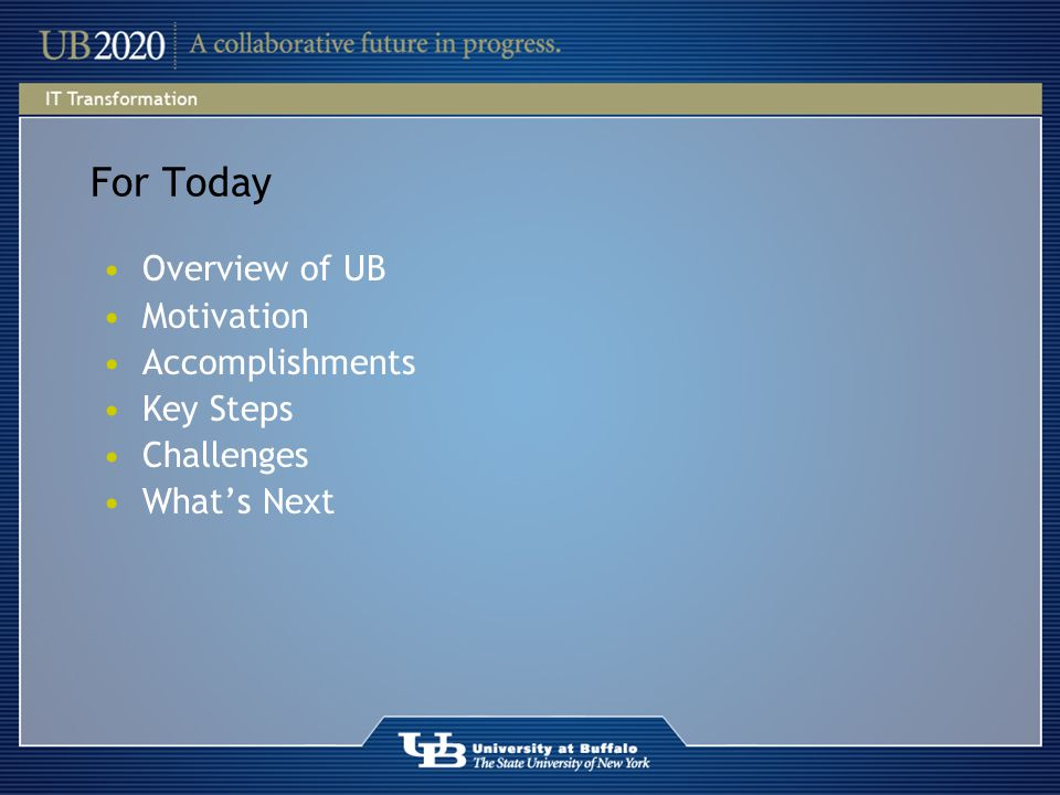 For Today Overview of UB Motivation Accomplishments Key Steps Challenges What's Next