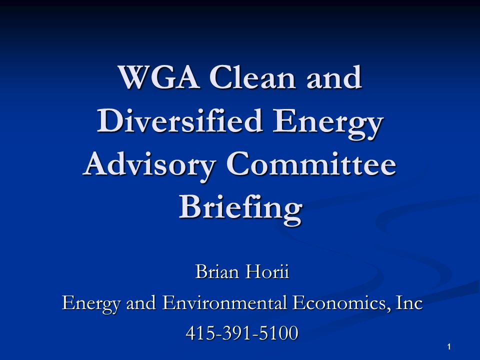 1 WGA Clean and Diversified Energy Advisory Committee Briefing Brian Horii Energy and Environmental Economics, Inc