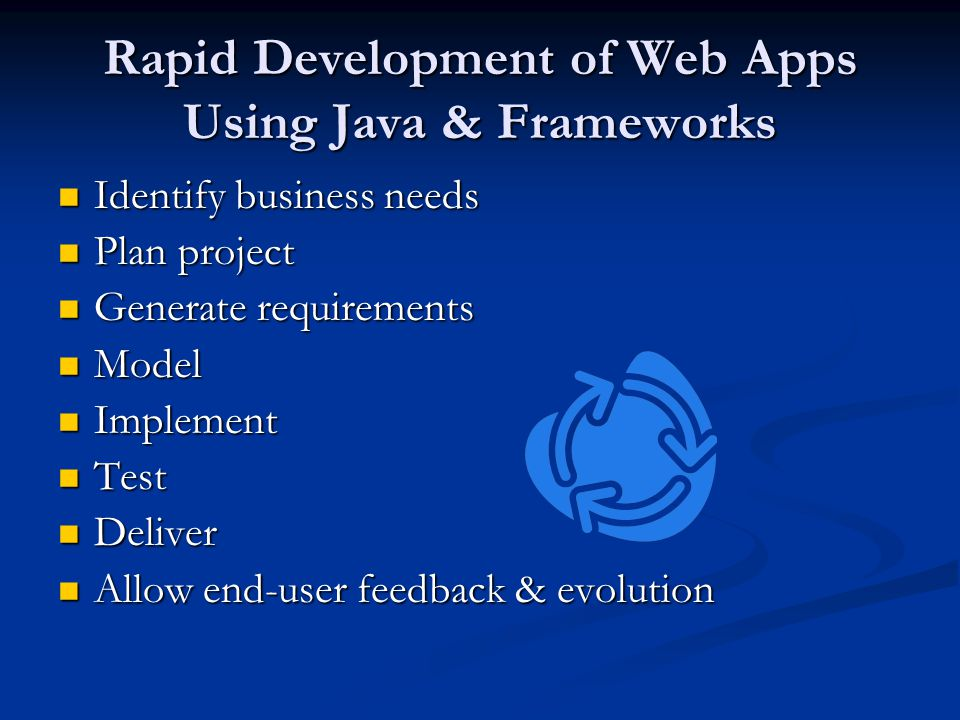 Rapid Development of Web Apps Using Java & Frameworks Identify business needs Identify business needs Plan project Plan project Generate requirements Generate requirements Model Model Implement Implement Test Test Deliver Deliver Allow end-user feedback & evolution Allow end-user feedback & evolution