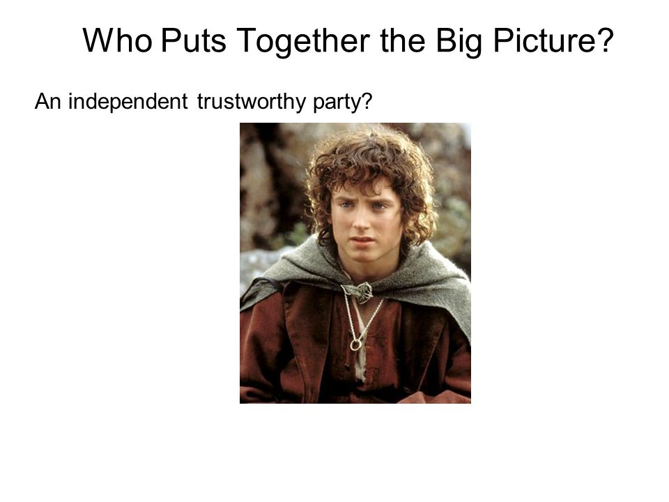 Who Puts Together the Big Picture An independent trustworthy party