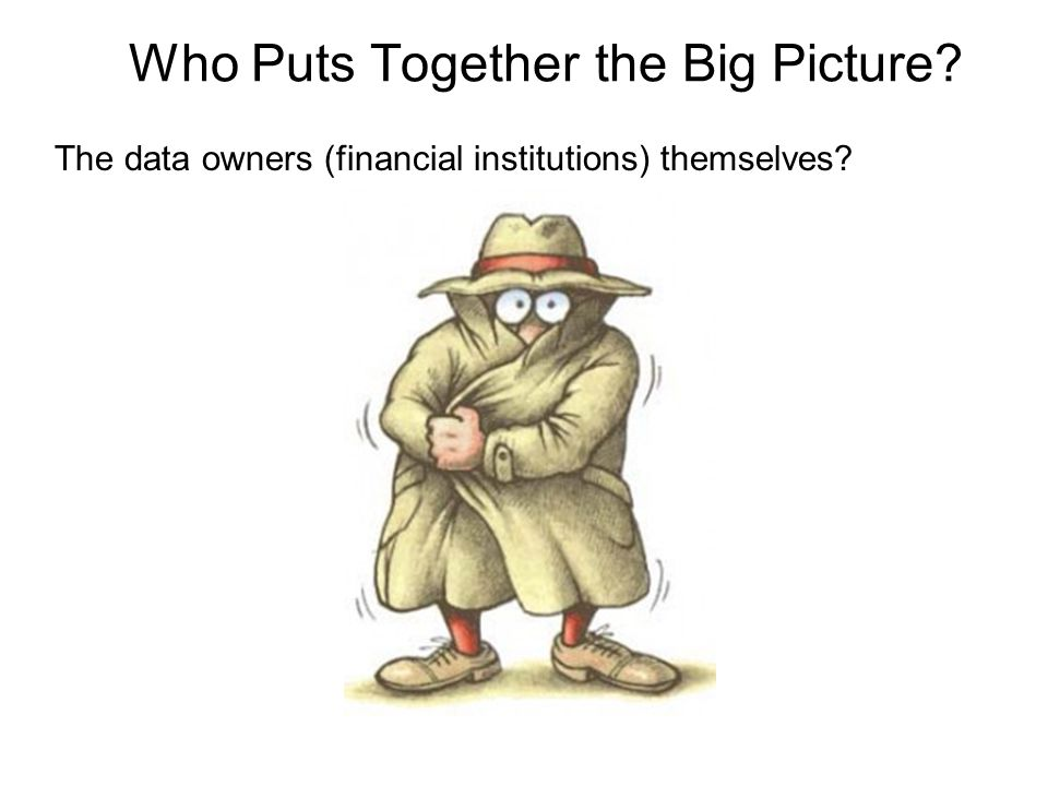 Who Puts Together the Big Picture The data owners (financial institutions) themselves