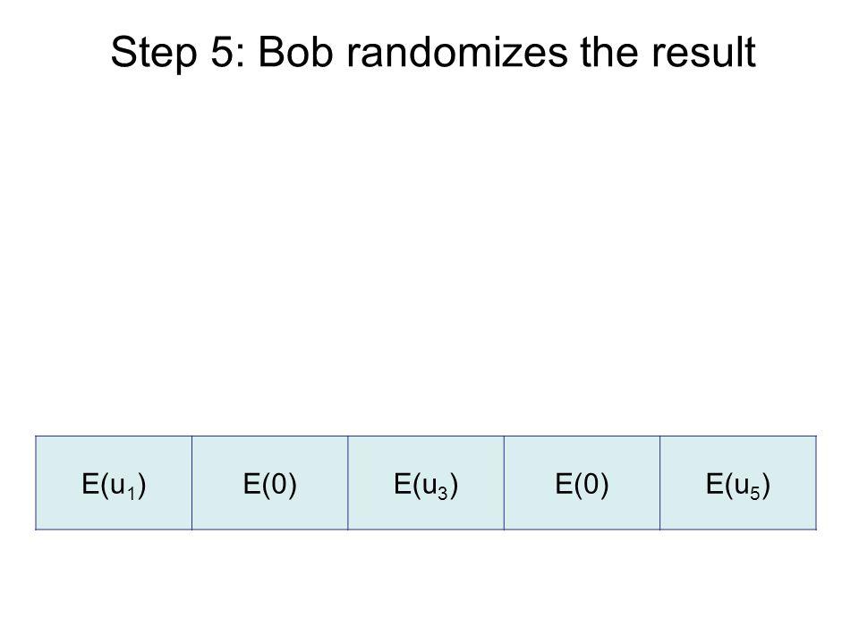 Step 5: Bob randomizes the result E(u 1 )E(0)E(u 3 )E(0)E(u 5 )