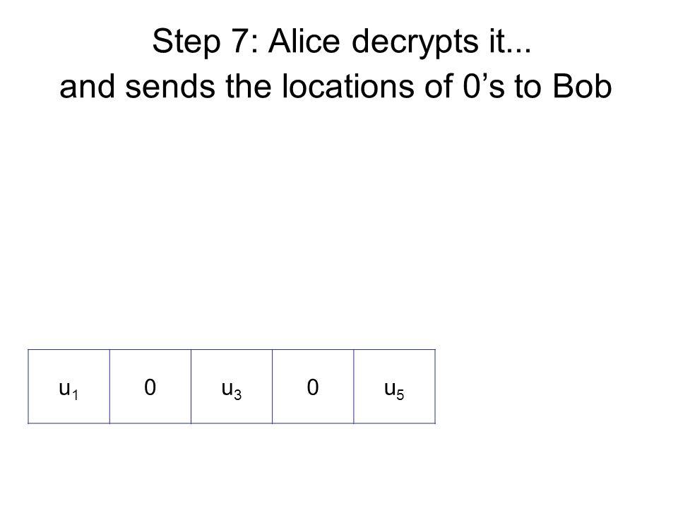 Step 7: Alice decrypts it... and sends the locations of 0's to Bob u1u1 0u3u3 0u5u5
