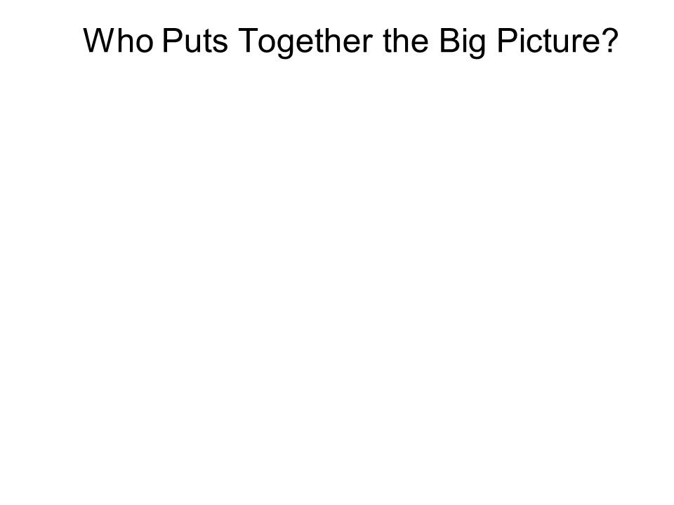 Who Puts Together the Big Picture