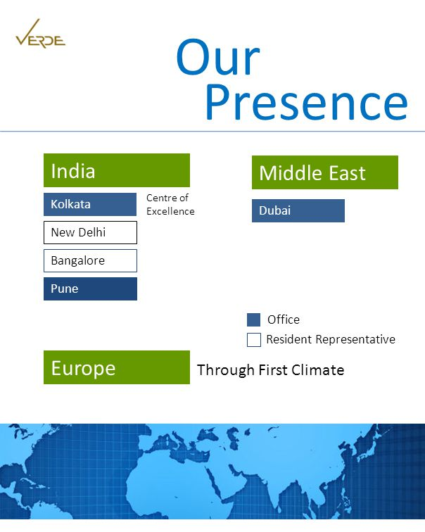 Presence Our Kolkata India Centre of Excellence Middle East Dubai New Delhi Bangalore Resident Representative Office Pune Europe Through First Climate
