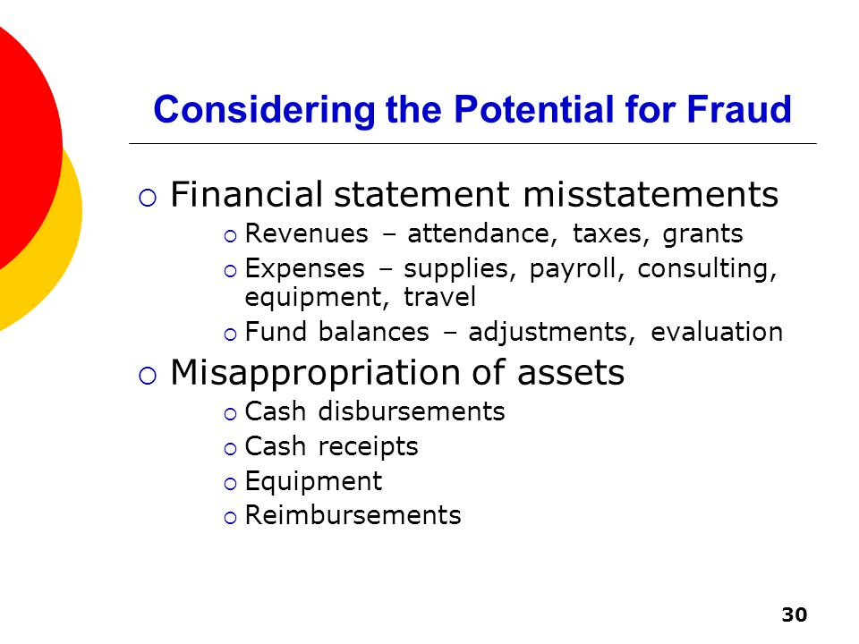 30 Considering the Potential for Fraud  Financial statement misstatements  Revenues – attendance, taxes, grants  Expenses – supplies, payroll, consulting, equipment, travel  Fund balances – adjustments, evaluation  Misappropriation of assets  Cash disbursements  Cash receipts  Equipment  Reimbursements