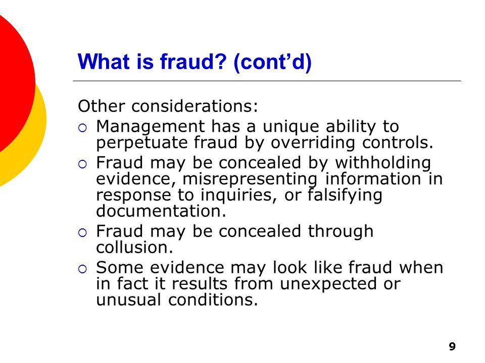 9 What is fraud.