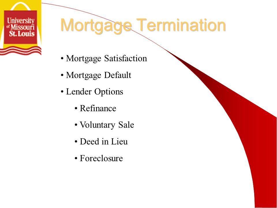Mortgage Termination Mortgage Satisfaction Mortgage Default Lender Options Refinance Voluntary Sale Deed in Lieu Foreclosure