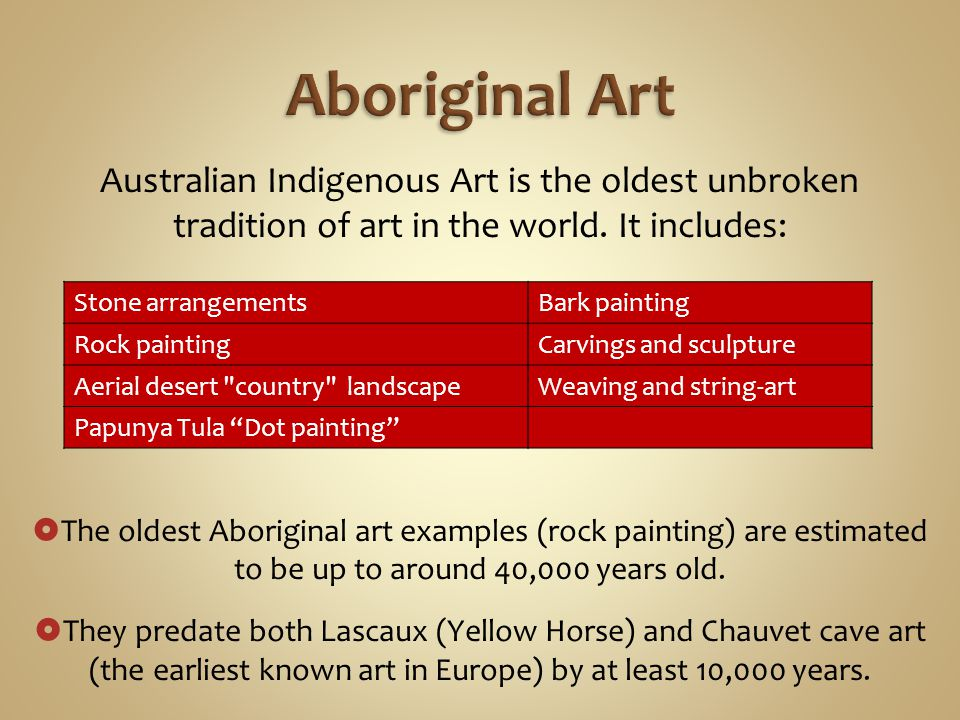 Australian Indigenous Art is the oldest unbroken tradition of art in the world.