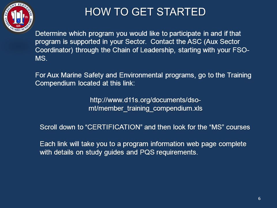 HOW TO GET STARTED Determine which program you would like to participate in and if that program is supported in your Sector.