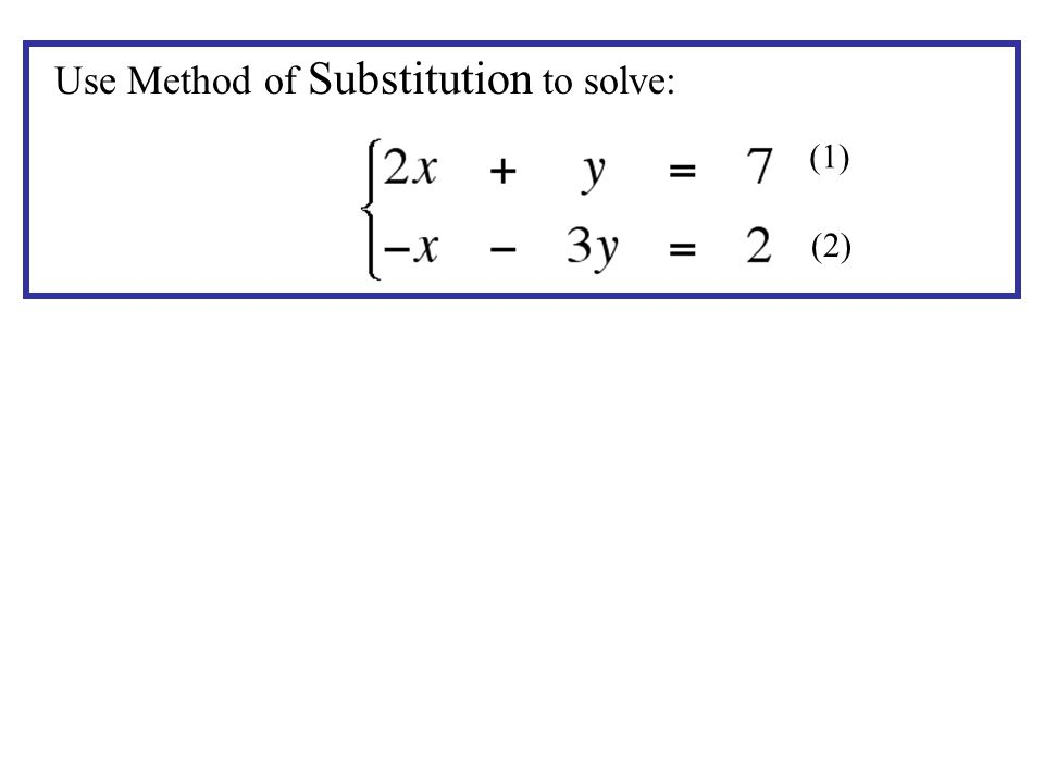 Use Method of Substitution to solve: (1) (2)