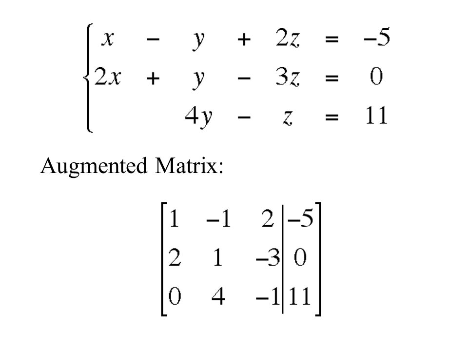 Augmented Matrix: