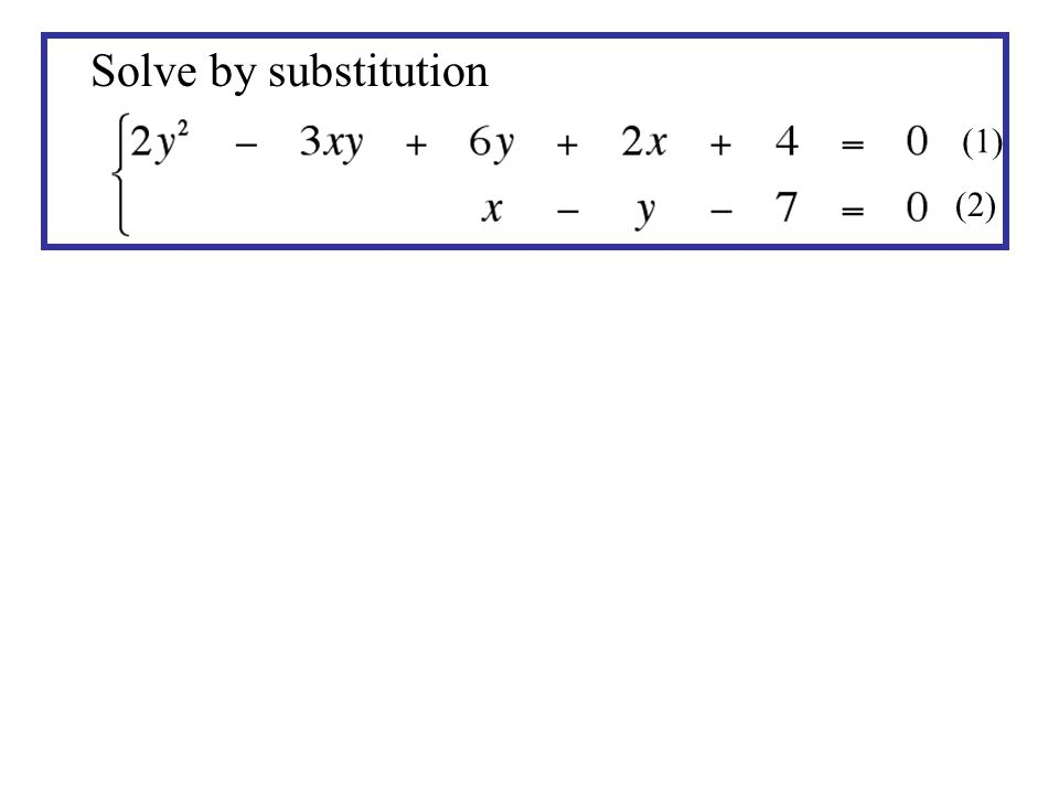 Solve by substitution (1) (2)