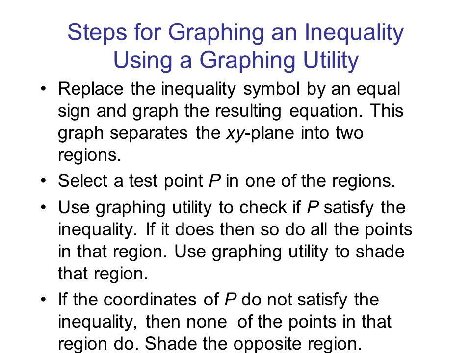 Steps for Graphing an Inequality Using a Graphing Utility Replace the inequality symbol by an equal sign and graph the resulting equation.