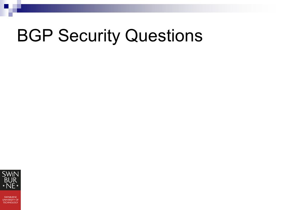 BGP Security Questions