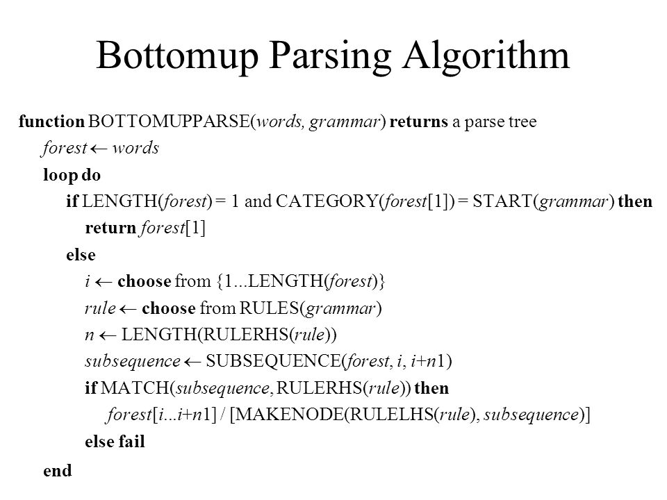 Bottom­up Parsing Algorithm function BOTTOM­UP­PARSE(words, grammar) returns a parse tree forest  words loop do if LENGTH(forest) = 1 and CATEGORY(forest[1]) = START(grammar) then return forest[1] else i  choose from {1...LENGTH(forest)} rule  choose from RULES(grammar) n  LENGTH(RULE­RHS(rule)) subsequence  SUBSEQUENCE(forest, i, i+n­1) if MATCH(subsequence, RULE­RHS(rule)) then forest[i...i+n­1] / [MAKE­NODE(RULE­LHS(rule), subsequence)] else fail end