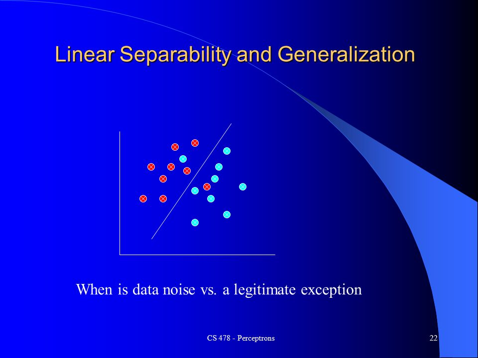 CS Perceptrons22 Linear Separability and Generalization When is data noise vs.
