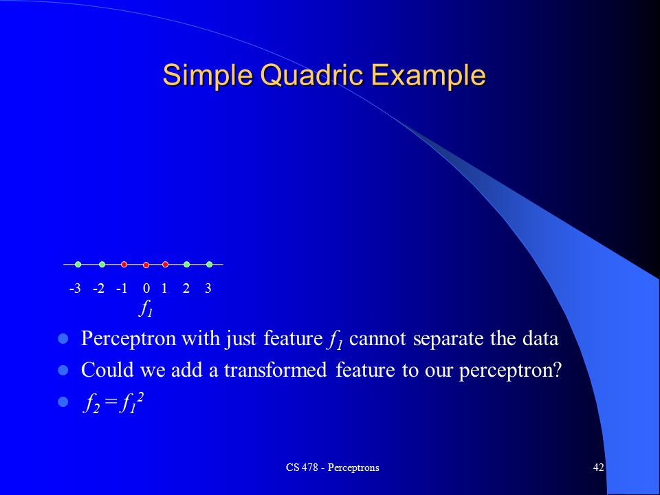 Simple Quadric Example Perceptron with just feature f 1 cannot separate the data Could we add a transformed feature to our perceptron.