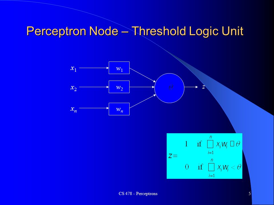 CS Perceptrons5 Perceptron Node – Threshold Logic Unit x1x1 xnxn x2x2 w1w1 w2w2 wnwn z