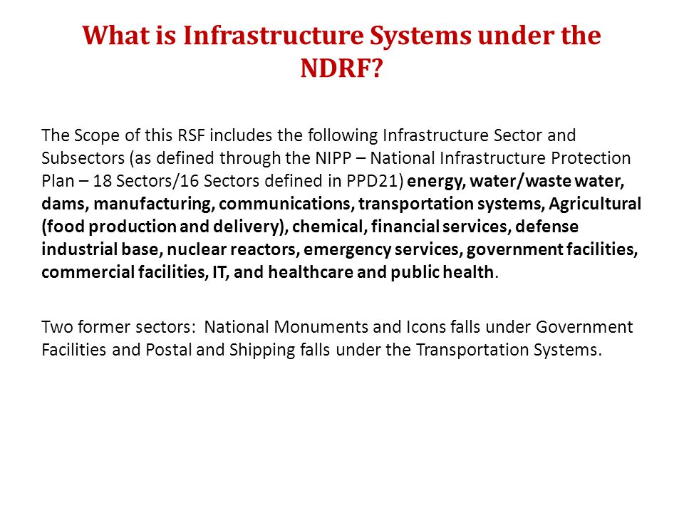 What is Infrastructure Systems under the NDRF.