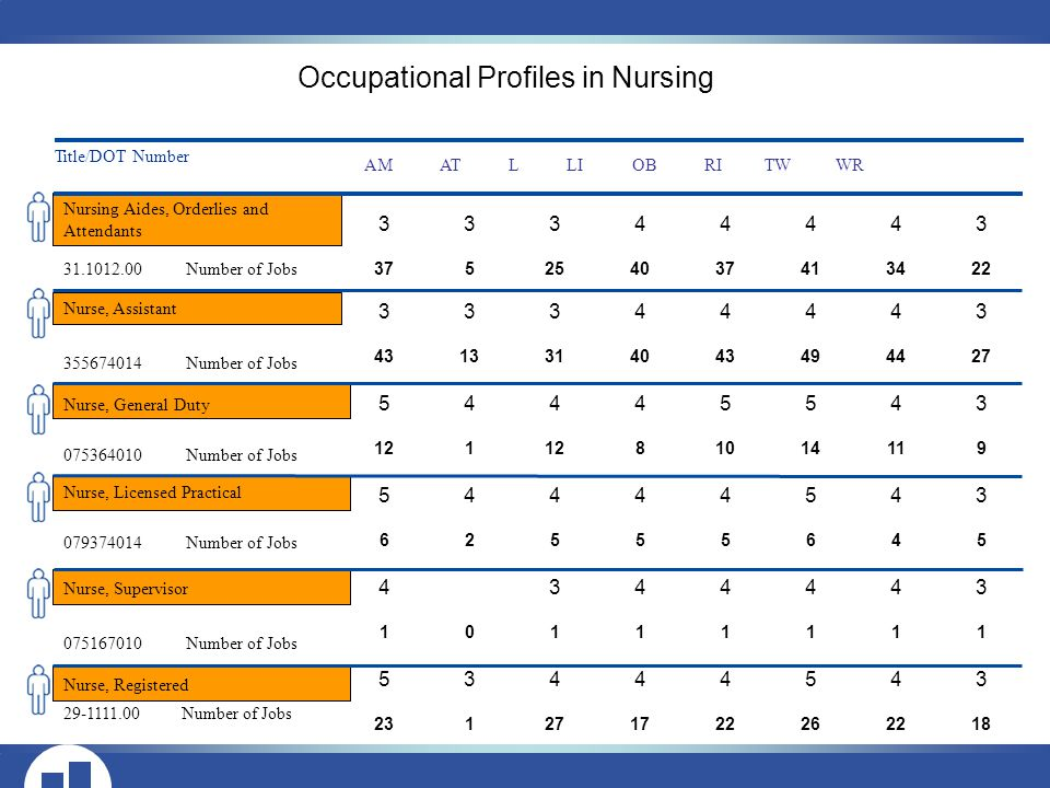 Nursing Aides, Orderlies and Attendants Title/DOT Number AM AT L LI OB RI TW WR Number of Jobs Number of Jobs Number of Jobs Number of Jobs Number of Jobs Number of Jobs Nurse, Assistant Nurse, General Duty Nurse, Licensed Practical Nurse, Supervisor Nurse, Registered Occupational Profiles in Nursing
