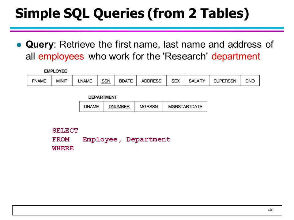 23 Simple SQL Queries (from 2 Tables) l Query: Retrieve the first name, last name and address of all employees who work for the Research department SELECT FROM Employee, Department WHERE