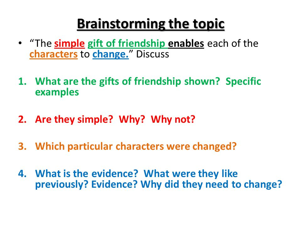 the essay students will understand how to unpack an essay  brainstorming the topic the simple gift of friendship enables each of the characters to change