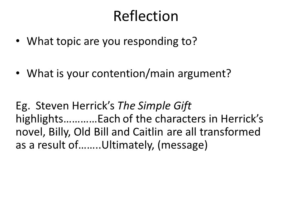 the essay students will understand how to unpack an essay  4 reflection