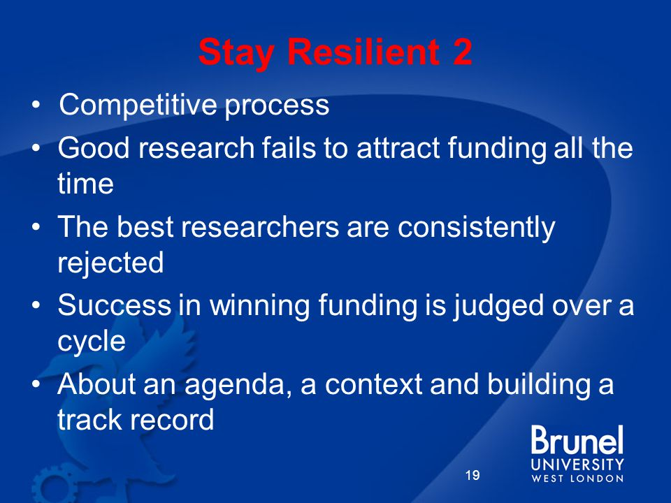 Stay Resilient 2 Competitive process Good research fails to attract funding all the time The best researchers are consistently rejected Success in winning funding is judged over a cycle About an agenda, a context and building a track record 19