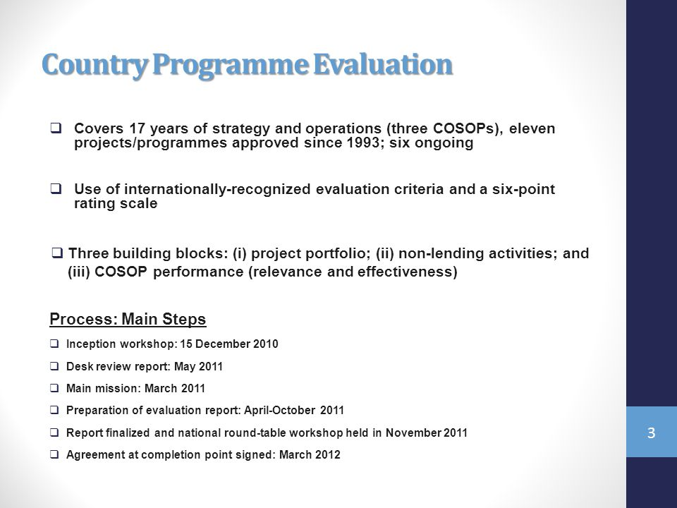 Country Programme Evaluation  Covers 17 years of strategy and operations (three COSOPs), eleven projects/programmes approved since 1993; six ongoing  Use of internationally-recognized evaluation criteria and a six-point rating scale  Three building blocks: (i) project portfolio; (ii) non-lending activities; and (iii) COSOP performance (relevance and effectiveness) Process: Main Steps  Inception workshop: 15 December 2010  Desk review report: May 2011  Main mission: March 2011  Preparation of evaluation report: April-October 2011  Report finalized and national round-table workshop held in November 2011  Agreement at completion point signed: March
