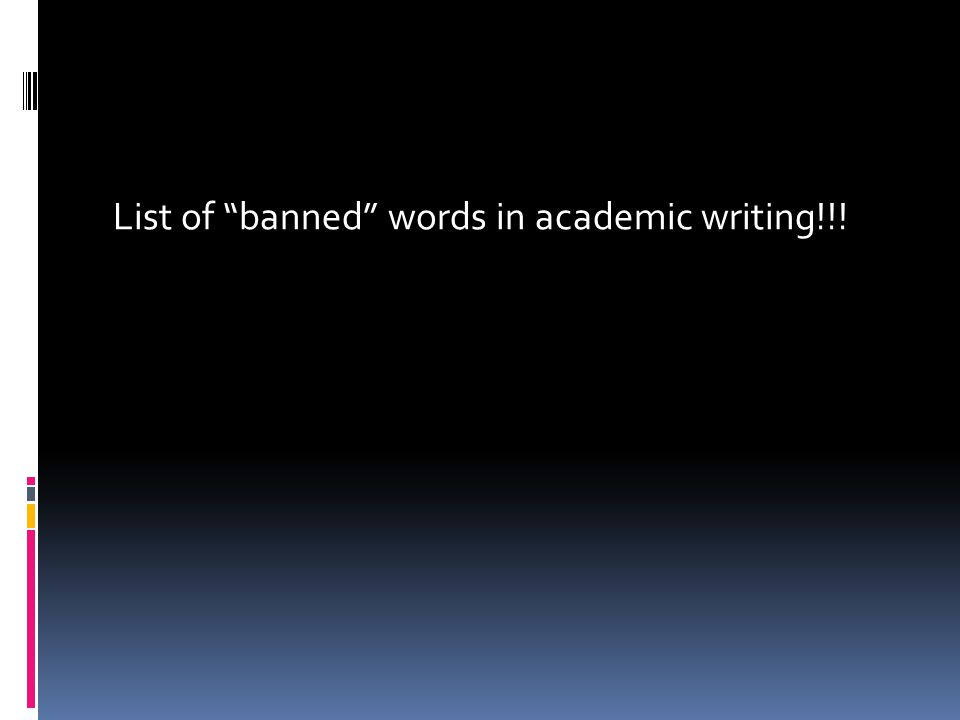 List of banned words in academic writing!!!