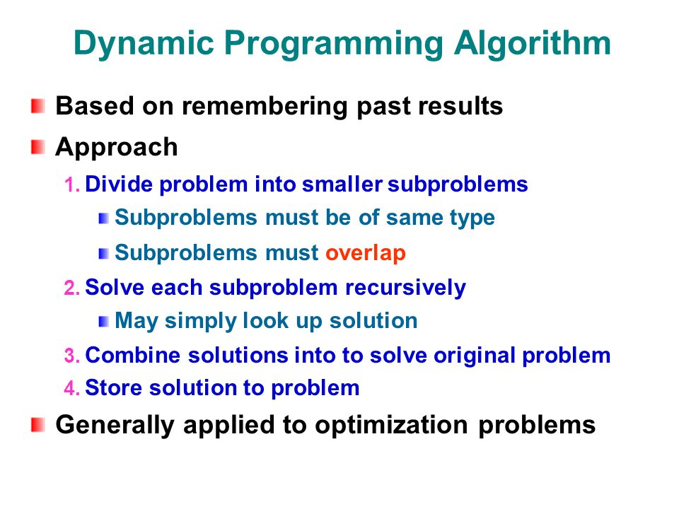 Dynamic Programming Algorithm Based on remembering past results Approach 1.